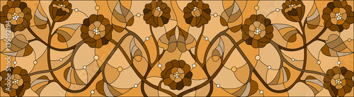 Illustration in stained glass style with  flowers,monochrome Sepia, horizontal orientation