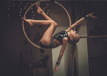 Plastic Little Girl Gymnast On Acrobatic Ring