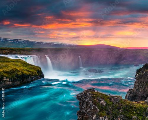 Fotografie, Obraz  Summer morning scene on the Godafoss Waterfall.