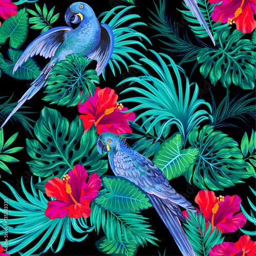 Fotografie, Obraz seamless vector parrern with parakeet