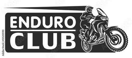 Fotomural  Motocross race enduro extreme motorcycle driver logo monochrome illustration