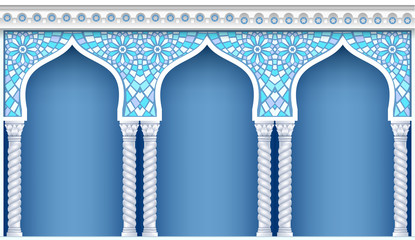 FototapetaPalace Arcade in an old oriental style. Facade of a classical building. Vector graphics