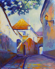 FototapetaStreet in old European town in yearly morning, original oil painting on canvas, impressionistic style