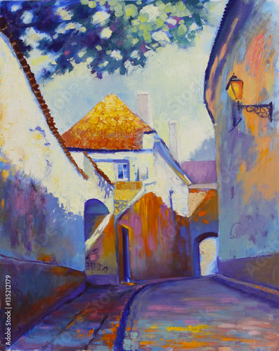 Street in old European town in yearly morning, original oil painting on canvas, impressionistic style - 135212179