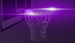canvas print picture - Silver net of a basketball hoop on background, 3d render