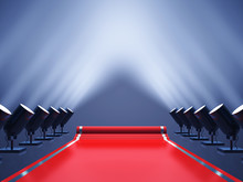 Red Carpet With Spotlights , Award Ceremony , VIP Event