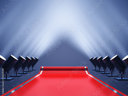 Obraz Red carpet with spotlights , Award ceremony , VIP event - fototapety do salonu