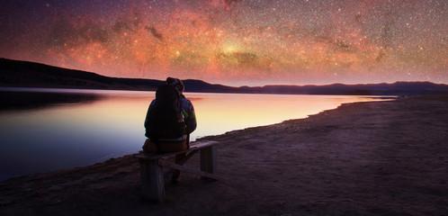 Naklejka na ściany i meble man and manny stars sky