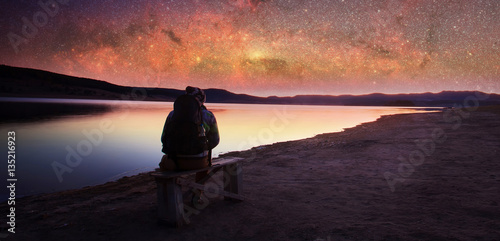 man and manny stars sky Poster