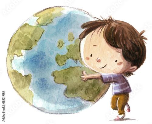Niño Con La Bola Del Mundo Kaufen Sie Diese Illustration Und