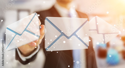 Businessman touching 3D rendering flying email icon with a digit