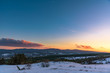 Colorful winter sunset on the mountain background with a spectacular sky. Russia, Stary Krym.