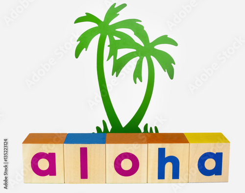 Aloha Spelled With Block With Ornamental Palm Tree Isolated Buy