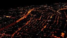Night Flying Over Big City . Dusseldorf. Germany
