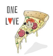One Love Pizza, Cartoon Vector Illustration