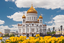 Patriarshy Bridge And The Cathedral Of Christ The Saviour In Moscow,