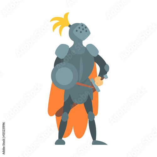 Photo  Knight Fairy With Orange Cape And Shield Tale Cartoon Childish Character