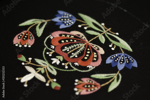 Photo  A detail of embroidered norwegian pattern Jelsa for national costume