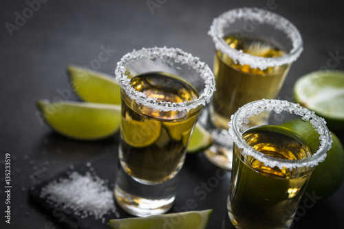 Fotografie, Obraz  Tequila shot with lime and sea salt