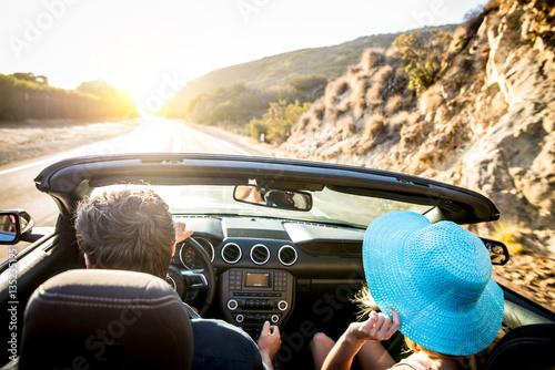 Couple on convertible car - 135235195