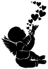 Silhouette Baby Angel With Heart