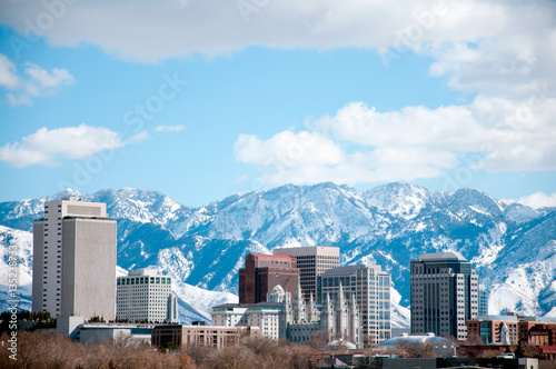 Salt Lake City Skyline in the Winter Fotobehang