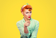 It's You! Portrait Angry Annoyed Pin Up Retro Style Woman Getting Mad Pointing Finger At You