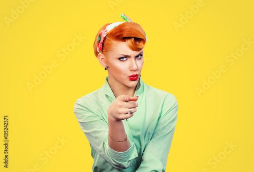 Fotografie, Obraz  It's you! Portrait angry annoyed pin up retro style woman getting mad pointing f
