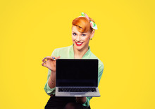 Red Head Woman Pretty Smiling Pinup Girl Green Button Shirt Holding Pc Computer