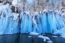 Frozen Waterfall At Plitvice Lakes, Croatia