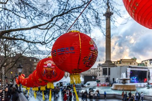 Lunar new year decorations at Trafalgar square