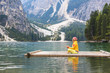 canvas print picture - Yoga am See