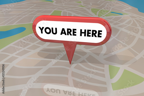 Fotomural  You are Here Map Pin Location Navigation 3d Illustration