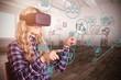 Pretty casual worker using VR headshet