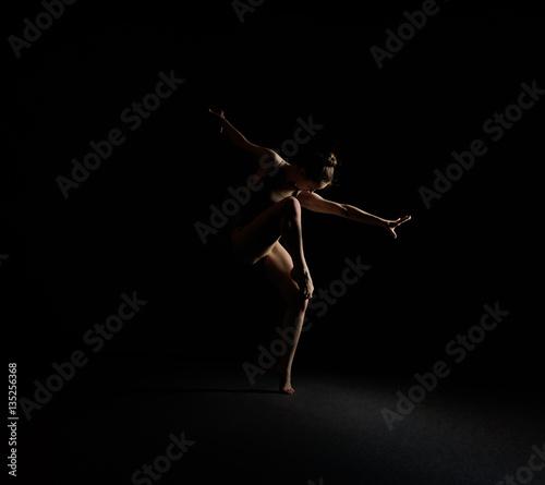 Fotografie, Obraz  Graceful girl dancing emotionally in dark studio