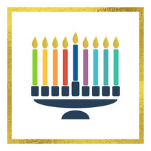 Vector Menorah With Bright Candles