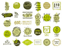 Set Of Organic Food Labels For...