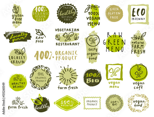 Fotografie, Obraz  Set of organic food labels for vegetarian restaurants