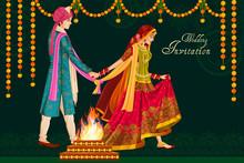 Indian Couple In Wedding Satphera Ceremony Of India