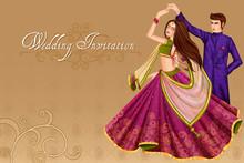 Indian Couple Dancing In Wedding Sangeet Ceremony Of India