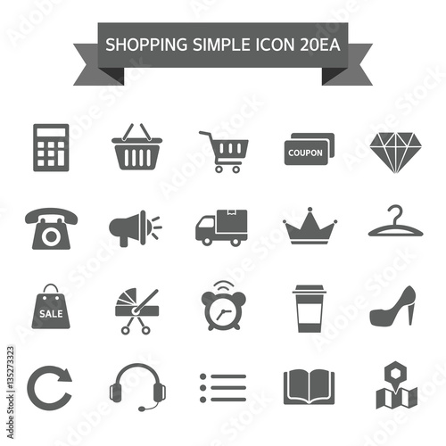 Shopping Simple Icon Set Poster