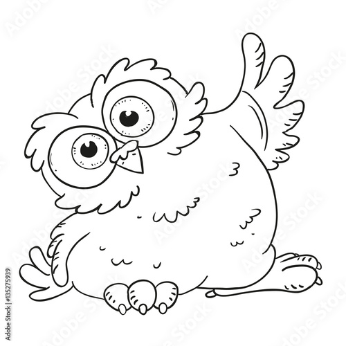 Funny cartoon character owl. Surprised owl with big eyes ...