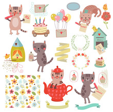 Set Of Cute Illustrations And Characters. Cats, Birds, Floral Pattern, Letter.
