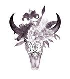 Głowa byka akwarela z kwiatami i piórami. Styl Boho. Drukuj na tatuaż, tapetę, koszulki - 135280169