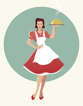 Housewife Carrying A Tray With Dinner. Retro Style