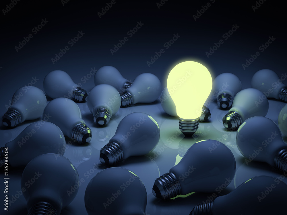 Fototapeta One lit glowing light bulb standing out from the unlit incandescent bulbs with reflection , individuality and different concept 3D rendering