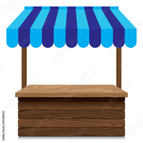 Fotografia Wooden market stall with blue awning on white background.
