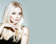 Leinwandbild Motiv pretty platinum blonde girl in black