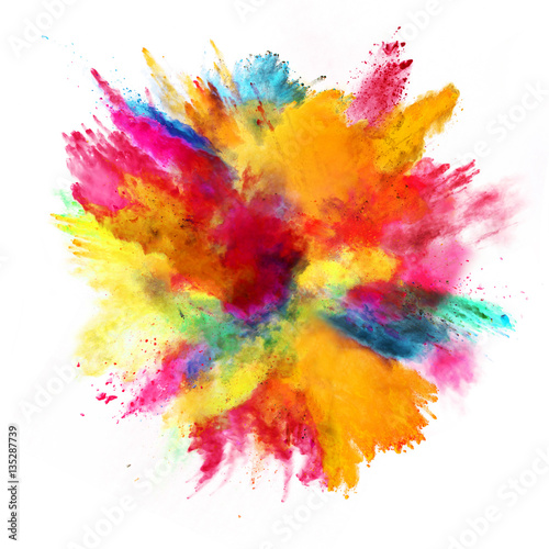 Explosion of colored powder on white background Poster