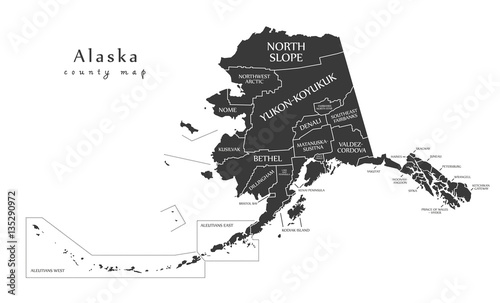 Modern Map - Alaska county map with labels USA illustration Wallpaper Mural